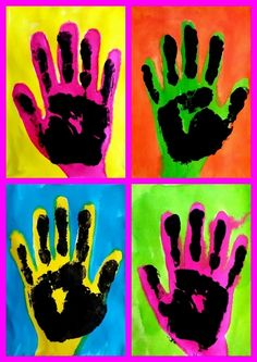 Andy Warhol Pop Art For Kids Projects Ideas Pop Art Pour Les Enfants, Pop Art Andy Warhol, Hand Kunst, Warhol Paintings, Pop Art For Kids, Classe D'art, School Art Projects, Clay Projects, Preschool Projects