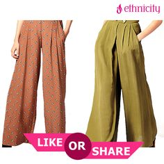 The dotted pink or the khaki green palazzo. Which is your pick for the party ? Hit Like for the pink and share for the green. #Ethnicity #fashion #style #ethnic #ethnics