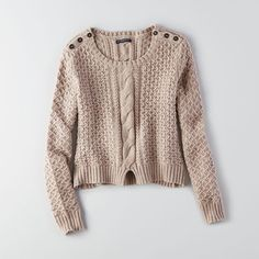 AEO Split Hem Sweater ($27) ❤ liked on Polyvore featuring tops, sweaters, holiday heather brown, special occasion tops, evening sweaters, brown tops, cable crewneck sweater and chunky cable knit sweater