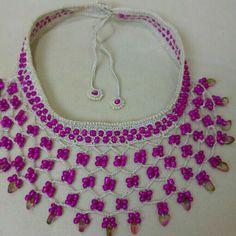 Diy Necklace, Crochet Necklace, Crochet Jewellery, Elsa, Jewelry, Fashion, Crocheting, Tejidos, Moda