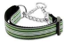 Preppy Stripes Nylon Ribbon Collars Martingale Green/White Large