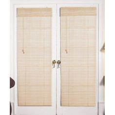Bamboo Blinds For French Doors roman fruitwood bamboo french patio door shade   great deals