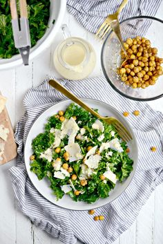 Healthy Kale Caesar Salad with Tahini Caesar Dressing l SimplyScratch.com