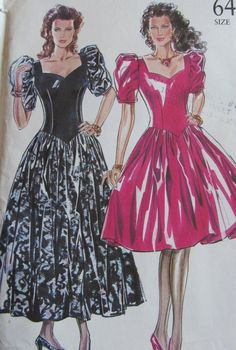 Vintage 80s Retro New Look 6487 Party Evening Dress Gown S6-18 Pattern UNCUT #simplicity