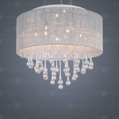 Modern Crystal Pendant Light in Cylinder Shade