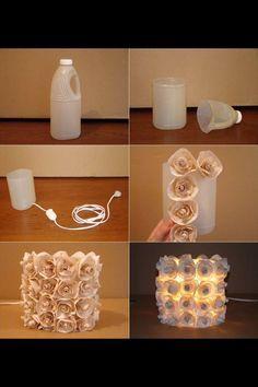 Tutorial para luminaria con rosas de papel y botella plástica. #ManualidadesParaFiestas