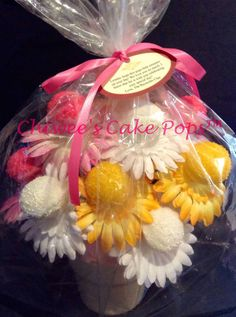 Cake pops flower bouquet...Unique, pretty and yummy gift for your loved one www.chiweescakepops.com