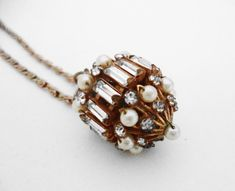 Fabulous Ornate Gold Rhinestone Pearl Pendant by beautifulpassions, possibly unsigned Miriam Haskell.