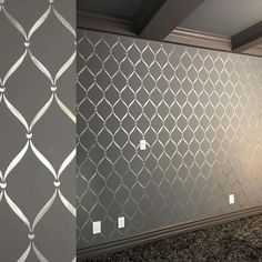 Band Lattice Trellis Wallpaper Wall Stencil Pattern - Painting large classic wall decor for bedroom, living room, nursery mural : Band Lattice Trellis Wallpaper Wall Stencil Painting Wallpaper Wall, Trellis Wallpaper, Wallpaper Designs For Walls, Metallic Wallpaper, Paint Designs For Walls, Painted Wall Designs, Bedroom With Wallpaper Accent Wall, Wallpaper Design For Bedroom, Accent Walls