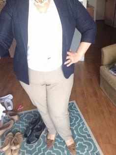 Denim Blazer, Ivory and Khaki Office Outfit