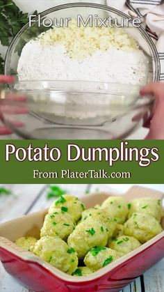 Potato Dumplings Recipe from Platter Talk feature an easy comfort food that's great as a main dish, a side dish, or even a savory appetizer for your next dinner party! Potato Dumpling Recipe, Potatoe Dumplings, Vegetarian Christmas Dinner, Christmas Breakfast, Dinner Party Appetizers, Christmas Appetizers, Christmas Recipes, Fall Recipes, Dinner Recipes