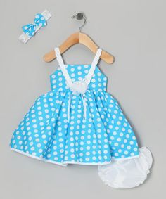 Another great find on #zulily! Blue Polka Dot Dress Set - Infant by Shanil #zulilyfinds