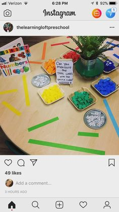 This is another way to incorporate measuring. I liked how the teacher taped down different lines for students to measure. Great for small group or individual work. Preschool Lessons, Preschool Classroom, Preschool Learning, Teaching Math, Maths Eyfs, Numbers Preschool, Classroom Ideas, Measurement Kindergarten, Measurement Activities