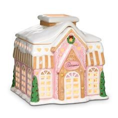 "Just Desserts™ Candle Cottage:  Hand-painted ceramic patisserie captures the charm of a gingerbread house. Add a pillar or Escential or GloLite jar candle, sold separately, for a magical Christmas scene. 8¼""h, 8¾""square."