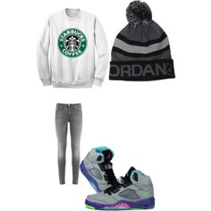 """""""Starbucks and Jordans"""" by alissiadoe on Polyvore cheap air jordan 5 only $59.8, save up to 59% off for all #Nikes #Shoes"""