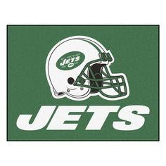 Fanmats NFL New York Jets Nylon Rug - All Star Mat  http://allstarsportsfan.com/product/fanmats-nfl-new-york-jets-nylon-rug/?attribute_pa_style=all-star-mat  9 ounce, 100 % nylon face Recycled vinyl backing for a durable and longer-lasting product Machine made and tufted in the USA