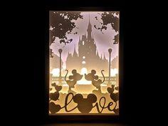 Paper Cut Silhouette Shadow Box Disney Love with Mickey Shadow Box Kunst, Shadow Box Art, Shadow Box Frames, Disney Crafts, Disney Art, Disney Shadow Box, Paper Cutting, Cut Paper Art, Silhouettes Disney