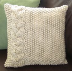 Braided Cable chunky hand knit 16 x 16 pillow cover. $52.50, via Etsy.