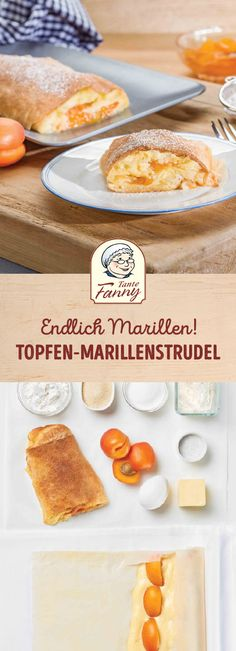 In Germany, the apricots, in Austria the apricots are picked from the tree. Austrian Desserts, Strudel Recipes, Curd Recipe, Biscuits, Cakes And More, Sweet Recipes, Bakery, Food Porn, Food And Drink