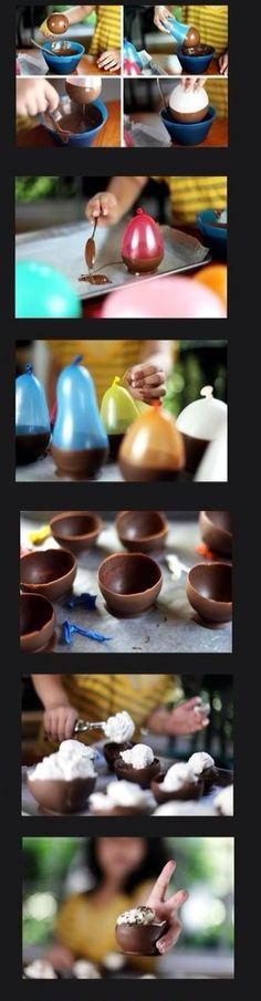 Chocolate balloon bowls!
