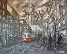 "This painting is called ""March of the proletariat"". It is a representation of 60th communist repression in Eastern europe, namely Prague."
