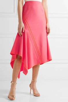 Jason Wu - Asymmetric Silk-trimmed Stretch-wool Midi Skirt - Bright pink - US10