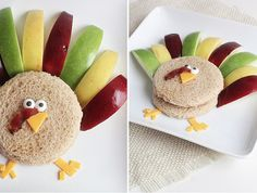 A sandwich and fruit can be such a boring lunch. Jazz it up by turning it into a turkey.  Source: Sweet Little Peanut