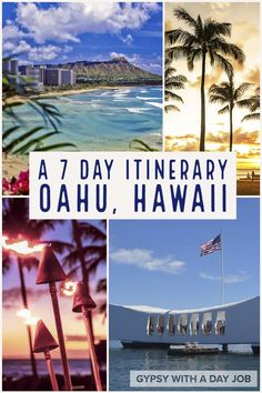 Been dreaming of Hawaii? Isn't it time to start planning your Oahu 1 week itinerary now? A week in Oahu won't take you everywhere, buta good plan for 7 days in Oahu will hit all the top spots. Our 7 day Oahu itinerary hits the gorgeous places, as well as the historic, and gets a bit of the lovely Hawaiian culture. We put our Oahu 7 day itinerary together to help you make your dream vacation a reality. #hawaii #oahu #tropicalparadise #usatravel #pacificislands #hawaiitravel