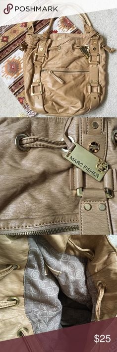 Marc Fisher Purse Marc Fisher roomy purse. Gold embellishments. 5 pockets. Buckles to close. Marc Fisher Bags Shoulder Bags