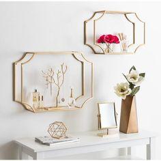 Metal Floating Shelves, Wooden Wall Shelves, Wall Shelf Decor, Metal Shelves, Wooden Walls, Metal Walls, Heart Wall Decor, Gold Wall Decor, Glass Shelves