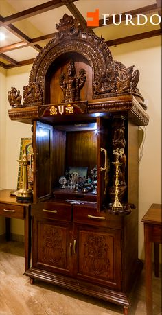Magnificent wooden hand-carved Puja unit with elaborate detailing depicting Hindu Gods and fine motifs designed by Furdo Temple Room, Home Temple, Altar Design, Temple Design, Wood Furniture Legs, Home Decor Furniture, Wooden Temple For Home, Mandir Design, Pooja Room Door Design