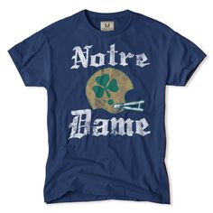 The Irish have luck on their side in this helmet. Fourth leaf not needed. Vintage Notre Dame Football Clover T-Shirt.
