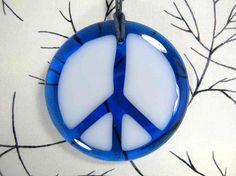 Blue and White Glass Peace Sign by AzureFire on Etsy, $10.00