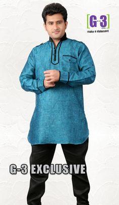 G3 Fashions Blue Linen Short Pathani Kurta  Product Code : G3-MSP1030 Price : INR RS 2394