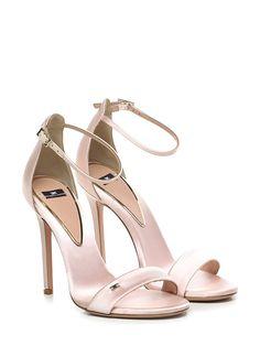 e55b0a8c620e2a Sandalo alto in tessuto con cinturino alla caviglia e suola in cuoio. tacco  115.