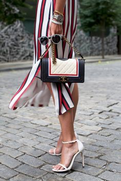 Striped + ankle strap heels.