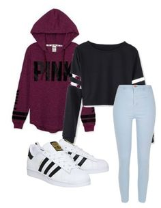 """""""pink"""" by rabiamiah on Polyvore featuring Victoria's Secret, River Island and adidas"""