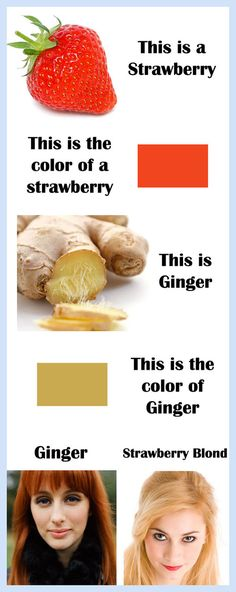 the colour of ginger and strawberry blonde...Because the world will never make sense.