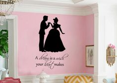 For my future office: Cinderella A dream is a wish your heart makes princess  vinyl wall decal. $28.00, via Etsy.