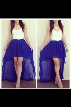 Royal blue hi low dress with white top and gold necklace
