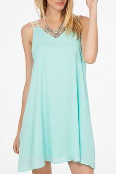 Aqua Dress with Trim Strapes