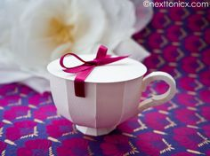 New blog: The revised lid for my Paper Tea Cup #1 template. This ones got ribbons and... well... looks prettier! Paper Tea Cup #1 Lid (insert option) | next to nicx