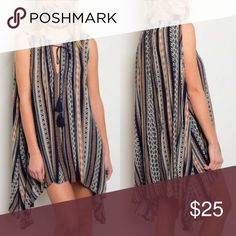 ☀️NEW☀️Striped Tassel Tie Top Shark bite hemline. Tassel tie. 100% rayon. As with all merchandise, seller not responsible for fit nor comfort. Brand new boutique retail w/o tag. No trades, no off App transactions.  ❗️PRICE IS FIRM UNLESS BUNDLED❗️ Leoninus Tops