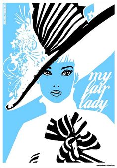 """A Polish poster featuring my favorite dress worn by Audrey Hepburn in the movie """"My Fair Lady"""""""