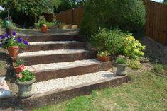 design for railway sleepers to enhance garden stream bank Garden Stream, Garden On A Hill, Lawn And Garden, Garden Paths, Landscape Stairs, Landscape Design, Garden Design, Sloped Landscape, Back Gardens