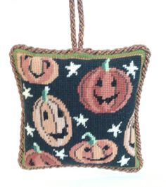 Laughing Pumpkins Needlepoint Ornament by Kirk & Bradley