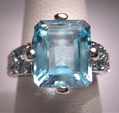 Vintage Blue Topaz Ring Estate Art Deco Engagement Ring - ETSY