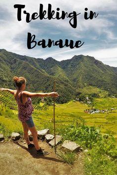 Trekking across the rice terraces in Banaue Batad region in the Philippines.