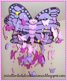 MÓVIL MARIPOSA DE GOMA EVA . | MI TALLER DE DULCES ILUSIONES Jelly Beans, Sweets, Illusions, Manualidades, Butterflies, Atelier, So Done, Pendants