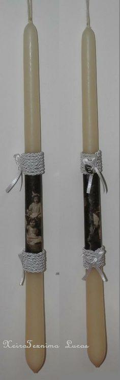 Πασχαλινές λαμπάδες με decoupage